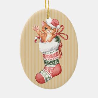 Christmas Stocking Series: Ginger Kitten Ceramic Ornament