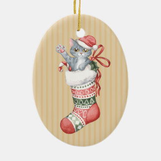 Christmas Stocking Series: Grey Kitten Ceramic Oval Ornament