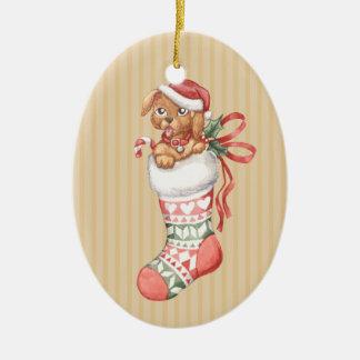 Christmas Stocking Series: Puppy Ceramic Ornament