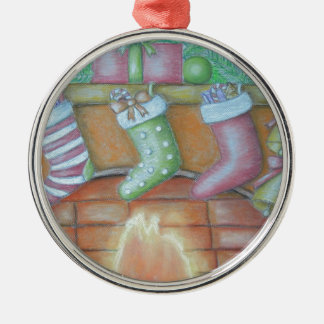 Christmas stocking Silver-Colored round ornament