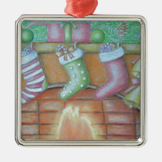 Christmas stocking Silver-Colored square ornament