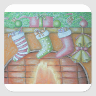 Christmas stocking square sticker