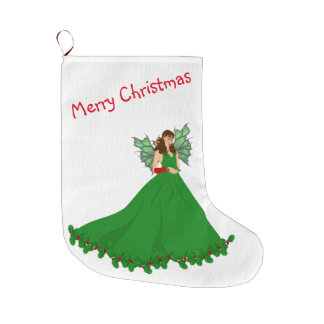 Christmas Stocking with Fairy Illustration