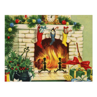 Christmas Stockings Fireplace and Decorations Postcard