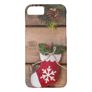 Christmas Stockings Merry Christmas Wooden Texture Case-Mate iPhone Case
