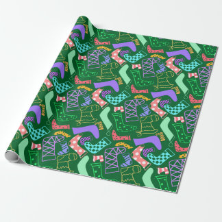 Christmas Stockings Patterned Green Wrapping Paper