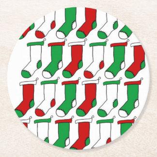 Christmas Stockings Socks Round Paper Coaster