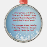 Christmas Story Luke 2 Christian Religious Silver-Colored Round Ornament