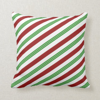 Christmas Striped Mint Candy Cane Holiday Decor Throw Pillow