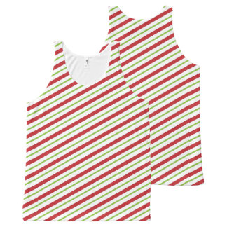 Christmas Stripes All-Over Printed Unisex Tank