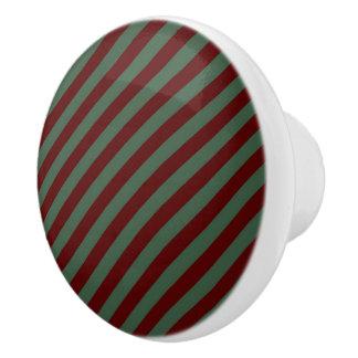 Christmas Stripes Ceramic Knob