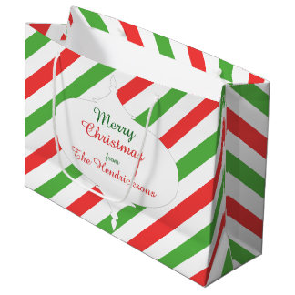 Christmas Stripes d large gift bag red/green/white