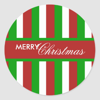 Christmas Stripes red Round Sticker