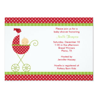 Christmas Stroller Baby Shower Invitations