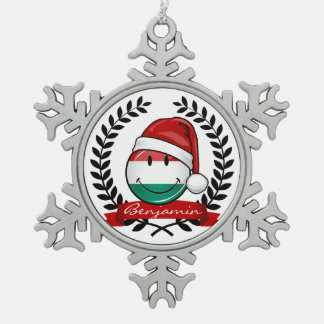 Christmas Style Hungarian Flag Snowflake Pewter Christmas Ornament