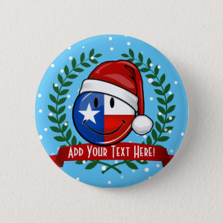 Christmas Style Smiling Texas flag 2 Inch Round Button