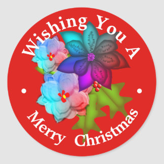 Christmas Succulent Floral Personalized Classic Round Sticker