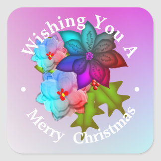Christmas Succulent Floral Personalized Square Sticker