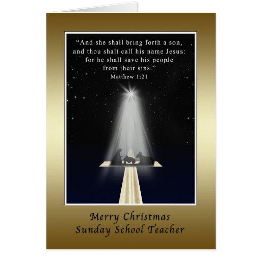 Christmas, Sunday School Teacher, Religious Card