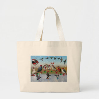 Christmas Swallows Large Tote Bag