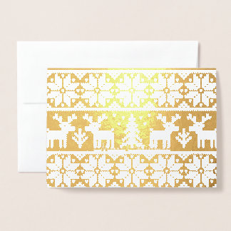 Christmas Sweater Deer Gold Foil Card