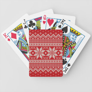 Christmas Sweater Knitting Pattern - RED Bicycle Playing Cards