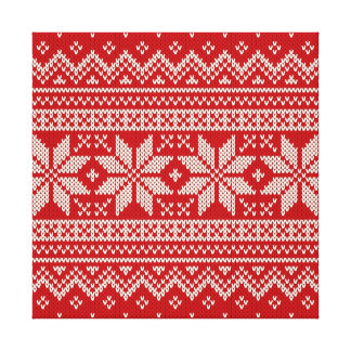 Christmas Sweater Knitting Pattern - RED Canvas Print