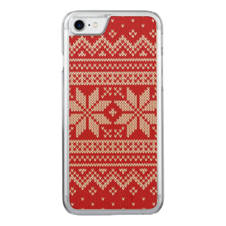 Christmas Sweater Knitting Pattern - RED Carved iPhone 8/7 Case