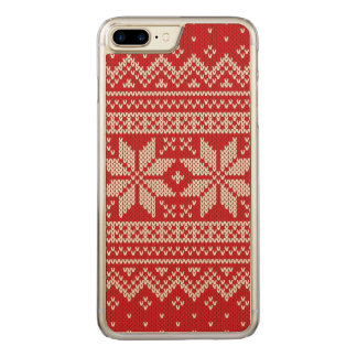 Christmas Sweater Knitting Pattern - RED Carved iPhone 8 Plus/7 Plus Case