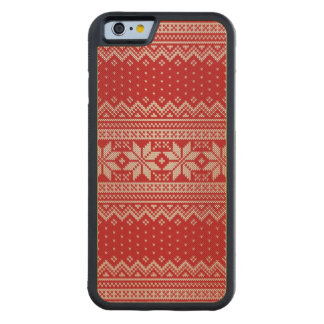 Christmas Sweater Knitting Pattern - RED Carved Maple iPhone 6 Bumper Case