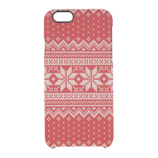 Christmas Sweater Knitting Pattern - RED Clear iPhone 6/6S Case