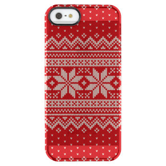 Christmas Sweater Knitting Pattern - RED Clear iPhone SE/5/5s Case