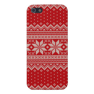 Christmas Sweater Knitting Pattern - RED iPhone 5/5S Covers