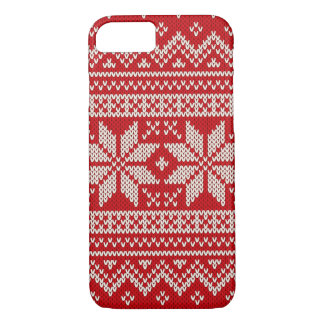 Christmas Sweater Knitting Pattern - RED iPhone 8/7 Case
