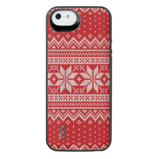 Christmas Sweater Knitting Pattern - RED iPhone SE/5/5s Battery Case