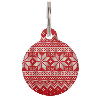 Christmas Sweater Knitting Pattern - RED Pet Name Tag
