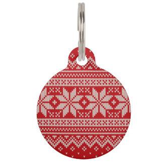 Christmas Sweater Knitting Pattern - RED Pet Nametags
