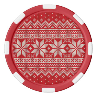 Christmas Sweater Knitting Pattern - RED Poker Chips