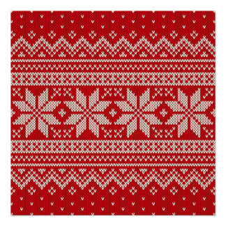 Christmas Sweater Knitting Pattern - RED Poster