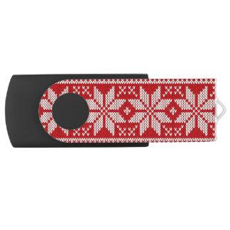 Christmas Sweater Knitting Pattern - RED USB Flash Drive