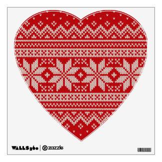 Christmas Sweater Knitting Pattern - RED Wall Sticker