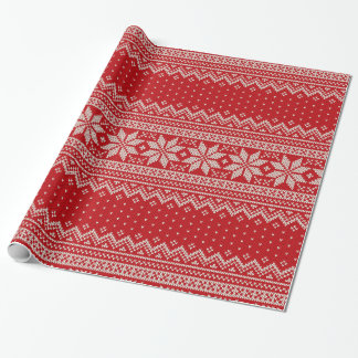 Christmas Sweater Knitting Pattern - RED Wrapping Paper