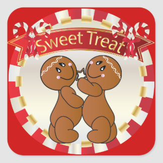Christmas Sweet Gingerbread Man Treats Square Sticker