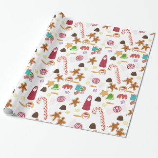 Christmas Sweeties Candy Peppermint Candy Canes Wrapping Paper