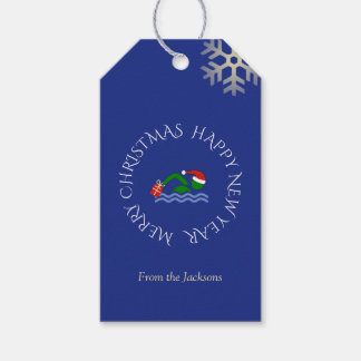 Christmas swimmer custom text blue gift tags