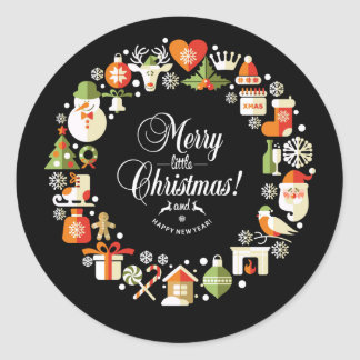 Christmas Symbols Wreath Stickers