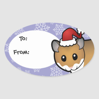 Christmas Syrian Hamster Oval Sticker