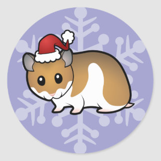 Christmas Syrian Hamster Round Sticker