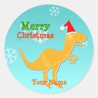 Christmas T-Rex Cartoon Dinosaur Name Stickers