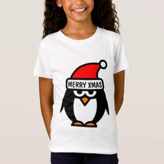 Christmas t shirt with funny penguin cartoon